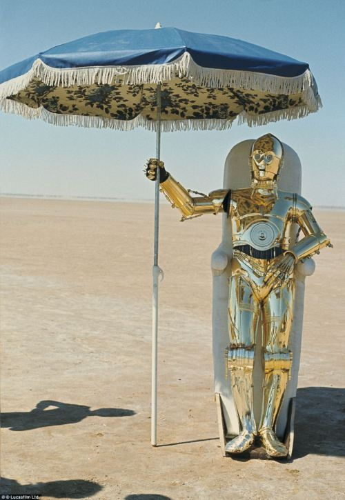 C3PO takes a break on the set of 'The Empire Strikes Back', 1979.