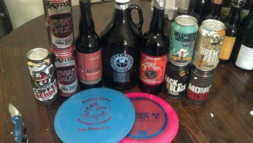 My Haul from the Disc Golf Beer It Forward Growler: Port Bacon & Eggs (so tasty) Bottles: '11 Abyss Captain Lawrence Apple Brandy Smoke From the Oak Cans: 2xDeviant Dales  21st Hell or High Watermelon  21st Monk's Blood 21st Brew Free or Die 21st Back In Black Coffee Bender JRSD on BA hooked it up. Get your hands on Bacon & Eggs if you can, it's a fantastic coffee porter.