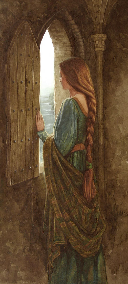 mitologiayleyendas:  Eithlinn in the tower by P. J. Lynch In Irish mythology, Ethniu (or Eithne) is the daughter of the Fomorian leader Balor, and the mother of Lugh.