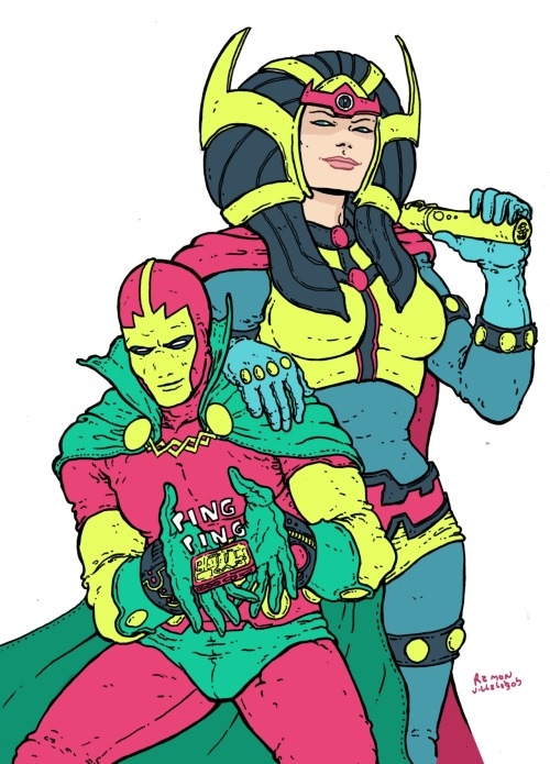 thehappysorceress:  ramonvillalobos:  I love the hell out of Mr. Miracle and Big Barda but I don't think I've ever really drew them. Especially since I've started drawing decently. So here is me doing something I've wanted to do for a long time. I was going to add more rendering or tones but then I thought, why? I couldn't answer myself and I liked where it was at so here this is. I hope you like it. This is my favorite love story in comics.  Barda & Scott, Sue & Ralph. Best couples. …both gone. cries