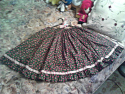 "Cherry Blossom Skirt $25 + Shipping(received in a trade last summer,never worn by me)+ Very well made, bell-shapped, 30-40"" (full elastic)+ Used lovingly, still in great shape+ No piling, tears or stains whatsoever!"