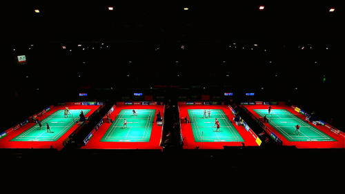 Badminton courts at the Wembley Arena