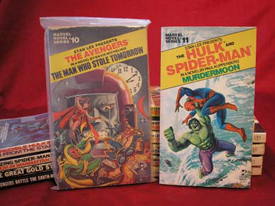 themarvelageofcomics:  Almost all of the Marvel Novel Series from the 1970s, and the two novels from the 1960s as well.  Would kill for this.