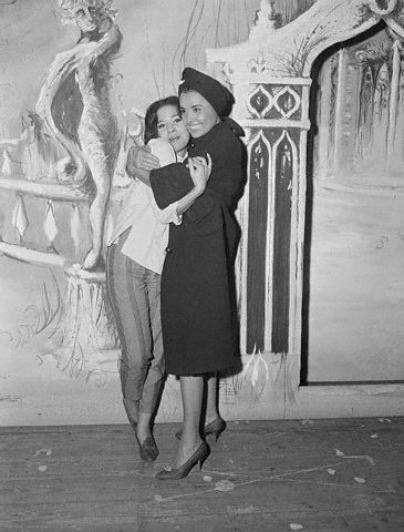 "Lena Horne hugs her daughter Gail Jones, backstage at the York Playhouse on October 6, 1960 after Gail made her stage debut in the musical Valmuouth. Gail Jones is now Gail Buckley and the author of several books including The Hornes: An American Family."" Photo: Bettman/Corbis."