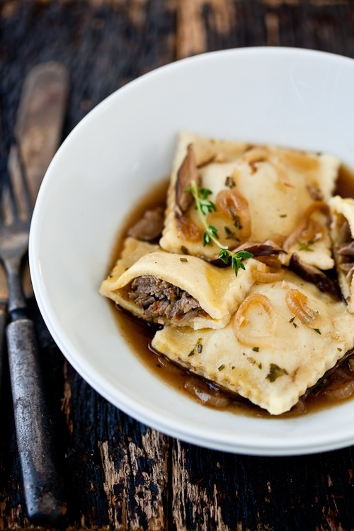 wehavethemunchies:  Braised Lamb Ravioli With Shitake Parsley Broth