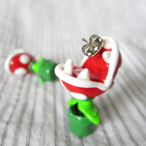 designersof:  Mario Brothers inspired Piranha plant earrings! They look like they are biting your ears!  Thanks!