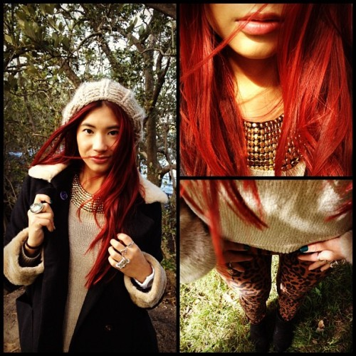 Outfit of the day #leopard #jeans #red #hair #beanie #winter #fashion #fur #boots #coat @girloutfits @fashiongorgeous  (Taken with instagram)