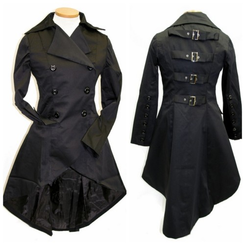 DIY Restyle Inspiration: Belts in back. So Different Trenchcoat from GoodGoth.com here (I never post affiliate links). Love the belted and longer cut back. Don't sew? this site is relatively inexpensive and has a huge variety of sizes. Has anyone shopped online here? How is the quality?