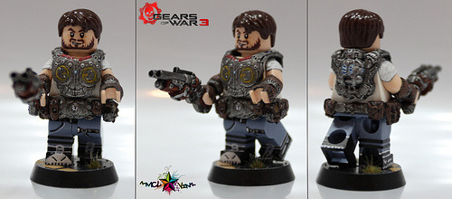 Gears of War 3 - COG Soldier Artist note: This was a project to paint that lovely set of Brick Affliction GoW Armor I have. I made this fig imagining the character to be how I would imagine myself in the Gears of War Universe. And so here he is. The red on the armor is meant to say 'Locust Killer'. Vambraces and sleeves are hand-sculpted. Created by McL✰vin