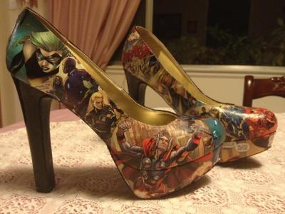 naudamarth:  Avengers themed heels! I will be selling similar comic themed heels on my Etsy (coming soon). The buyer will be able to choose a shoe size and a theme; be it a single character (ex: Thor) or a group (the Avengers). Each pair will be completely unique, as each is hand made from actual comic books, by yours truly!