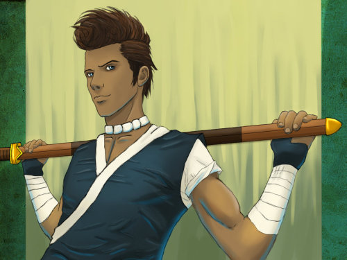 lolbender:   Sword Master Sokka by chrisdog203  Well, hello. I'm thinking maybe we could … do an activity together?  Reblogged for the quote. Although I seriously doubt that Sokka was ever this conventionally non-dorky.