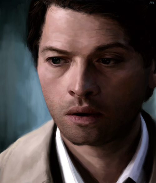 finished up castiel wip from before, RAISES EYEBROW if i knew how to used textured brushes i'm pretty sure this would be a lot less tedious. x_x also, thank chuck for liquify tool cause i just slapped on colors without any sketching *asplodes