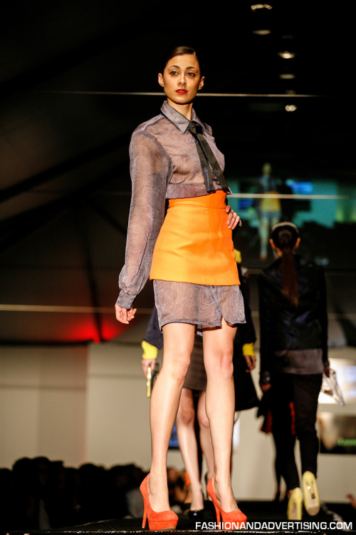 "Breaking Away Fashion Show Moore College 2012 Model: Jordana Jagdeo Agency: Wilhelmina Philadelphia Designer: Laura Galindo Collection: Women's Ready to wear with a sweet twist to '60's ""Mad Men"""