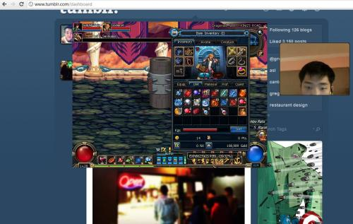 Skype, Tumblr, Dungeon Fighter. Spending quality time with the bf.