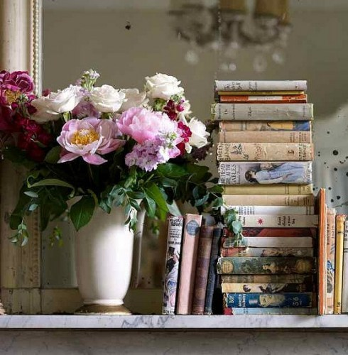 vintage books and flowers