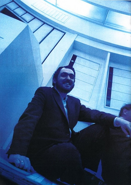 "Stanley Kubrick on the set of ""2001: A Space Odyssey"" (1968)."