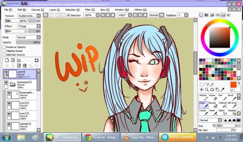 Eii! :>Here's a WIP of what I'm drawingwhich is Hatsune MikuEven if my favorite vocaloids are actually the Kagamine Twins and Kamui GakupoOH WELLmiku it is nyerp  And I'm trying out some screentone papertex :> As well as some new brushes ^ _____ ^
