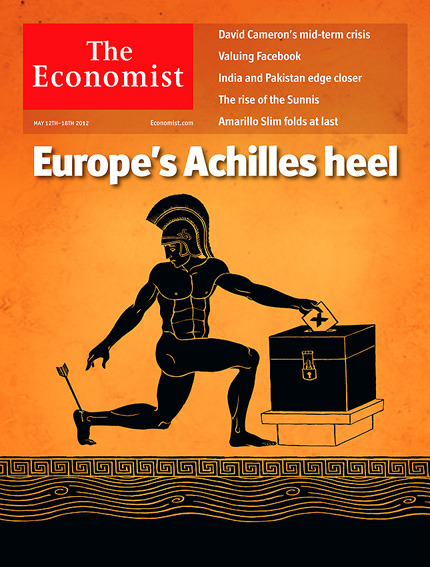 Here's a cover I did for this week's Economist on Greece's inability (so far) to form a government, and the resulting mutterings about allowing the country to beat a hasty retreat from the Eurozone. The art director is Graeme James.