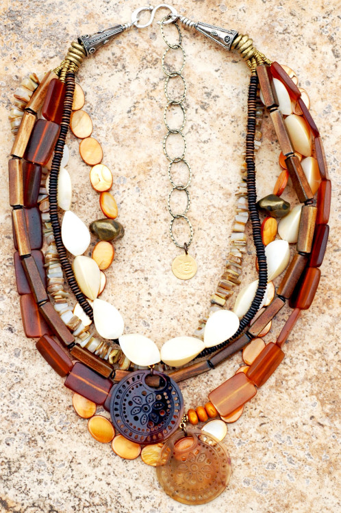 Sand Necklace: Natural and Organic Amber Horn, Shell, Bone and Brass Pendant Necklace