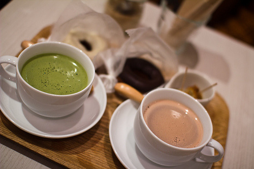 Coffee, Green Tea and Doughnuts