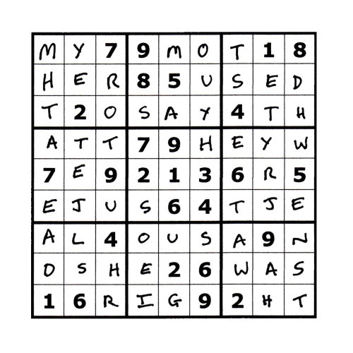 Sudoku Poetry #1 The Sudoku Poetry series is a portrait of a man, comprised of a set of 9 (doable) sudoku puzzles precisely filled up with a phrase or sentence, thus making a new puzzle.  Whilst they are not initially easy to read, perseverance is rewarded. They are available individually, but should ideally be viewed as a whole set, with each piece representing a characteristic or thought of the protagonist.
