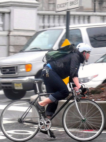 NYC Bicycle Commuter, Canal @ Manh Br. (by bicyclesonly)