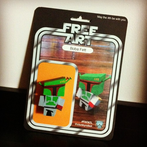 My pal @clunkyrobot generously gave me a prototype Boba Fett drone for letting him use the ZombieLab™. (Taken with instagram)