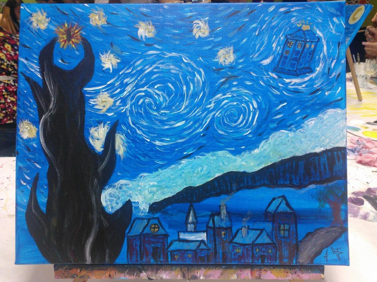 Went to another byob painting & wine party! This one was Van Gogh's Starry Night. I obviously couldn't let that be all it was…