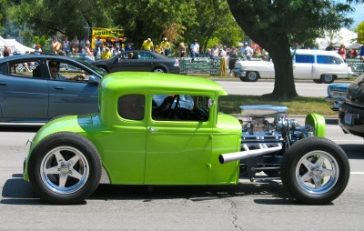 COUP de GREEN! Channeled hot rod coupe at the Woodward Cruise, Detroit, MI