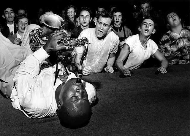 Jay McNeely, Los Angeles, 1951 by Bob Willoughby    These white boys are losing their SHIIIIT!