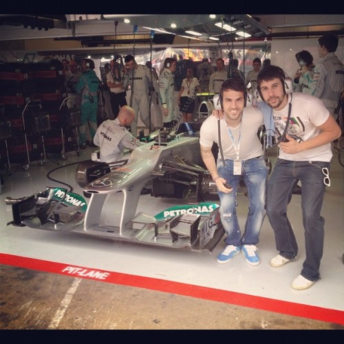 alinnyderis:  Cesc Instagram - At the Formula1 with my best friend! Cool day!