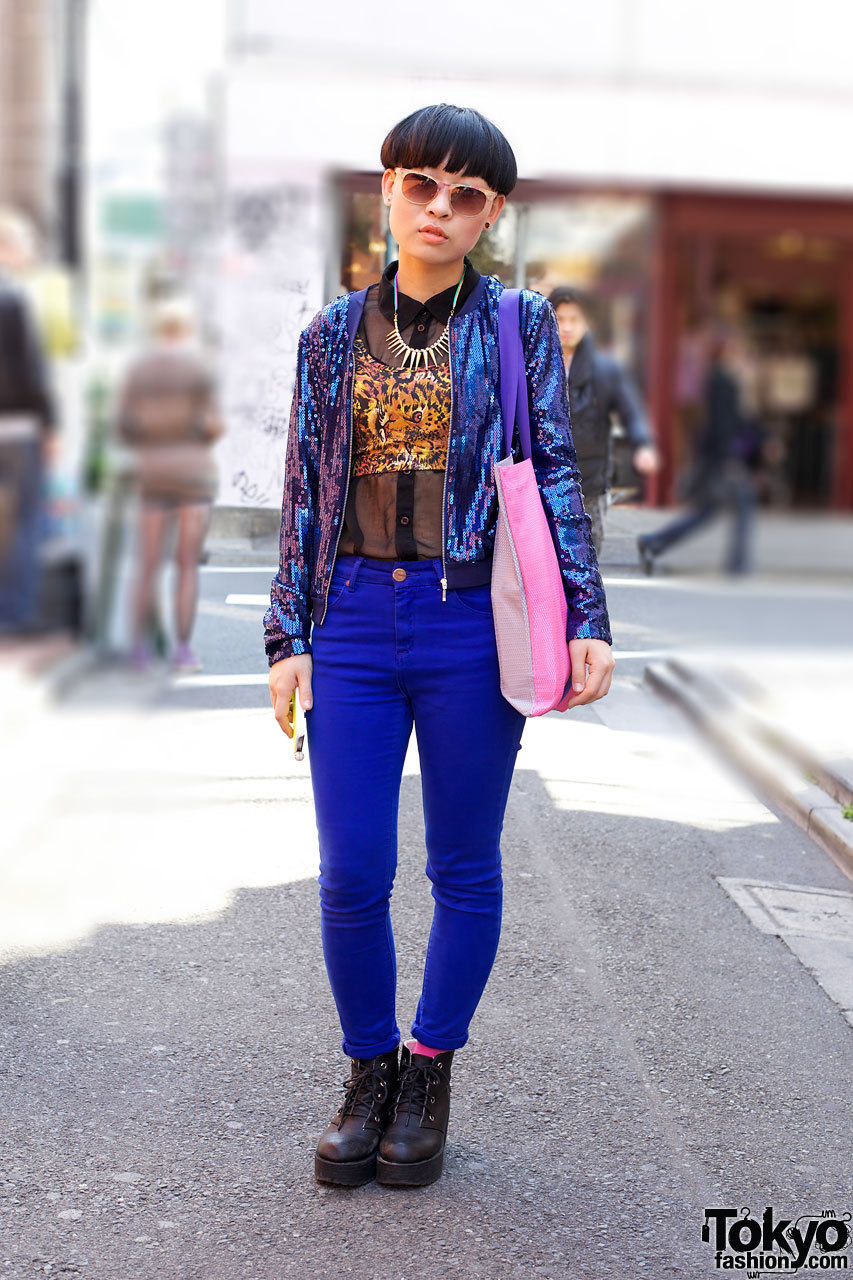 24-year-old student in Harajuku w/ sequin jacket, Topshop, leopard print & fashion purchased in Korea.
