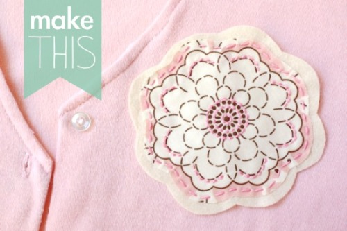 Simplest Flower Brooch DIY via papernstitch