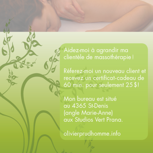simple virtual flyer for a massage therapist | simple publicité virtuelle pour un ami massothérapeute