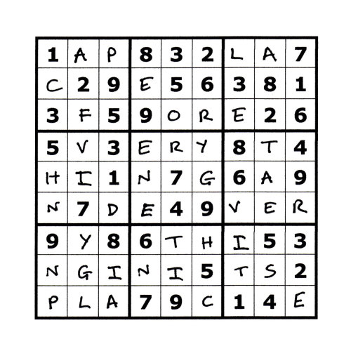 Sudoku Poetry #6 The Sudoku Poetry series is a portrait of a man, comprised of a set of 9 (doable) sudoku puzzles precisely filled up with a phrase or sentence, thus making a new puzzle.  Whilst they are not initially easy to read, perseverance is rewarded. They are available individually, but should ideally be viewed as a whole set, with each piece representing a characteristic or thought of the protagonist.