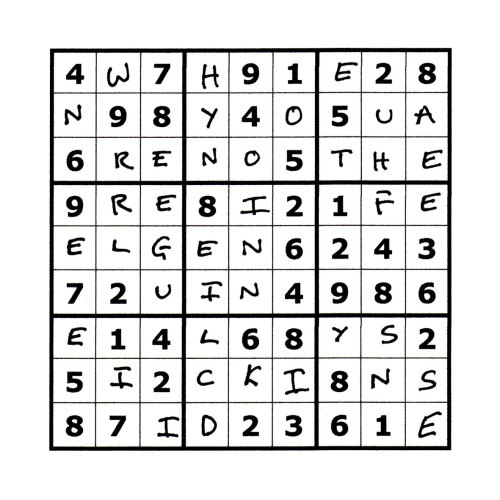 Sudoku Poetry #7 The Sudoku Poetry series is a portrait of a man, comprised of a set of 9 (doable) sudoku puzzles precisely filled up with a phrase or sentence, thus making a new puzzle.  Whilst they are not initially easy to read, perseverance is rewarded. They are available individually, but should ideally be viewed as a whole set, with each piece representing a characteristic or thought of the protagonist.