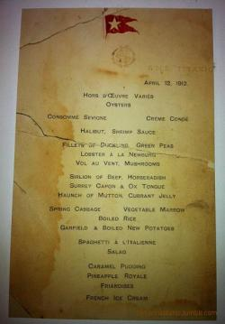 Titanic's First Class Lunch Menu