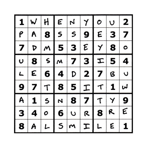 Sudoku Poetry #8 The Sudoku Poetry series is a portrait of a man, comprised of a set of 9 (doable) sudoku puzzles precisely filled up with a phrase or sentence, thus making a new puzzle.  Whilst they are not initially easy to read, perseverance is rewarded. They are available individually, but should ideally be viewed as a whole set, with each piece representing a characteristic or thought of the protagonist.