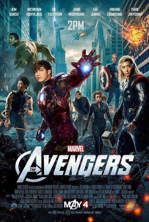 2PMagreement211: The sync is awesome!!! Avengers 2PM version!!!ㅋㅋㅋㅋㅋㅋ Jinyoungie hyung has gathered us all, huh Mwahaha Chanthor ㅋㅋㅋㅋ Ok-hulk ㅋㅋ Junhawkeyeㅋㅋㅋㅋㅋㅋㅋ Translated by 2pmalways