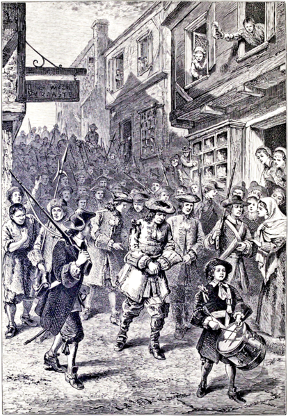 "A 19th-century interpretation showing the arrest of Governor Andros during Boston's brief revoltThe 1689 Boston revolt was a popular uprising on April 18, 1689, against the rule of Sir Edmund Andros, the governor of the Dominion of New England. A well-organized ""mob"" of provincial militia and citizens formed in the city and arrested dominion officials. Members of the Church of England, believed by Puritans to sympathize with the administration of the dominion, were also taken into custody by the rebels. Neither faction sustained casualties during the revolt. Leaders of the former Massachusetts Bay Colony then reclaimed control of the government. In other colonies, members of governments displaced by the dominion were returned to power."