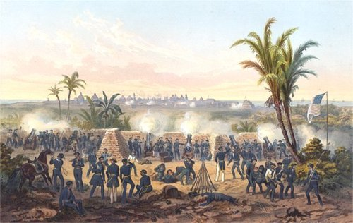ON THIS DAY: 13th May 1846 - The United States declared war on Mexico after a series of disputes in the wake of the 1845 U.S. annexation of Texas, starting the Mexican–American WarImage shows a painting of the Battle of Veracruz by Carl Nebel