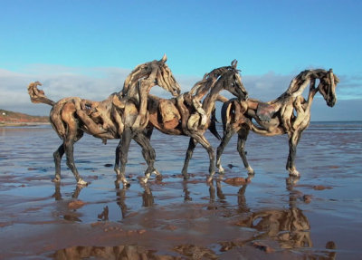 Driftwood horses made by sculptor Heather Jansch. Check out her site for other pieces. For additional inspiration, see earlier Unconsumption posts on uses of driftwood, fallen branches, and other plant material here.