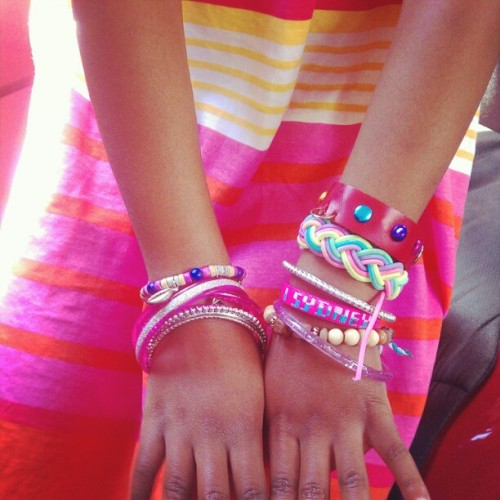 6 yr old wrist swag.  #bracelets  (Taken with instagram)