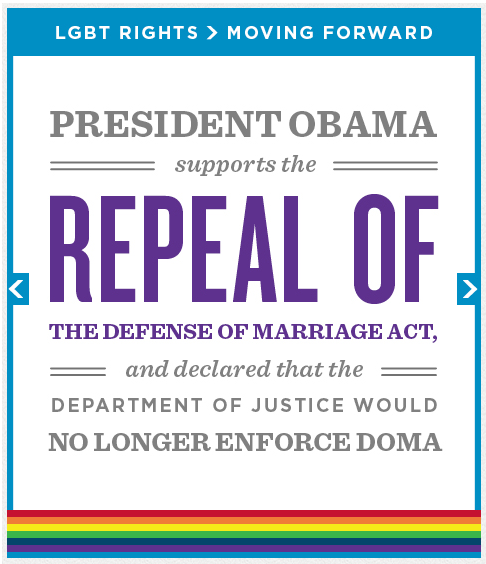 Refusing to defend DOMA: Just one of the ways President Obama is standing up for equal rights.
