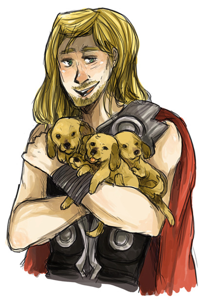 sherlickity-spit:  when I think of Thor I think of golden retriever puppies! SERIOUSLY THE RESEMBLANCE IS PRETTY CLOSE.  This is what I think of Loki it's okay Loki bb you're still adorable. i also lied about the hiatus BECAUSE IT'S THE WEEKENDS also how do you get rid of the grey box thing? it's HIDEOUS. :T