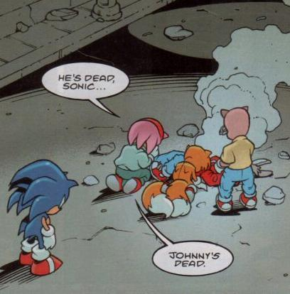 illuminousthoughts:  This comic panel. As a kid, STC was one of the best things I'd ever read. The Sonic Adventure arc especially, it was dark, took some liberties but yet created something which kept close to the original source material.  Now imagine being a kid, who loves Johnny Lightfoot to pieces. Imagine turning to the page with this panel…and seeing that.  Yeah. I cried. I cried a lot when I saw this. The build up for that scene was intense for a kid's comic.