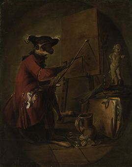 Jean Siméon Chardin (Paris 1699-1779)  Le singe peintre ('The Monkey Painter')