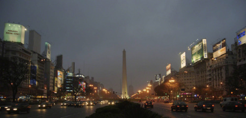 View of the Obelisco de Buenos Aires from street level on Avenida 9 de Julio. Photographer: Steven WilliamsLocation: Buenos Aires, ArgentinaDate: September 2007isstevestillalive.com / steveslefteye.comfacebook.com/isstevestillalive / facebook.com/steveslefteye@stevestillalive  (via Argentina)