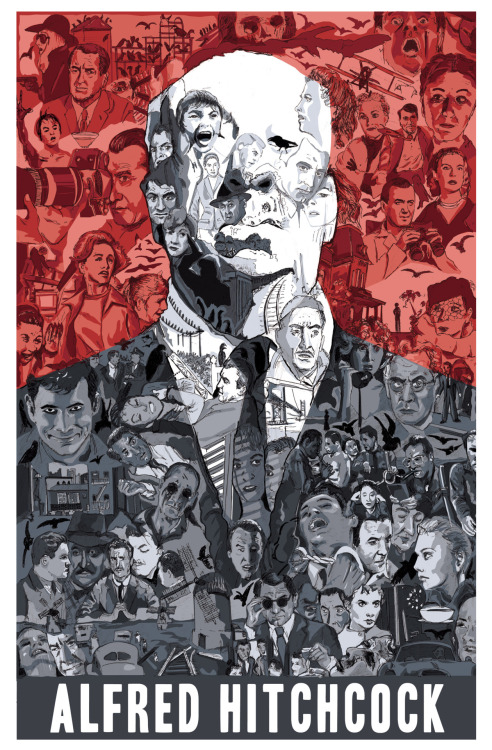 eatsleepdraw:  Alfred Hitchcock. Portrait of the director, made up of images from his films.