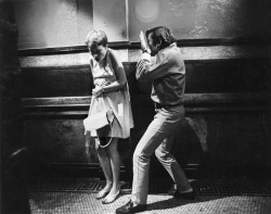 fuckyeahdirectors:  Mia Farrow and Roman Polanski on the set of Rosemary's Baby (1968)